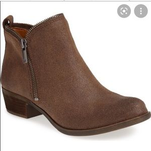 Lucky Brand Bartalino brown leather zipper booties size 9